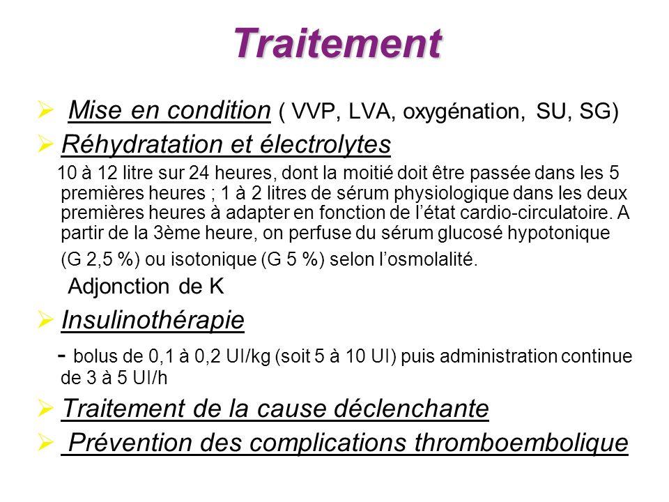 Traitement Mise en condition ( VVP, LVA, oxygénation, SU, SG)