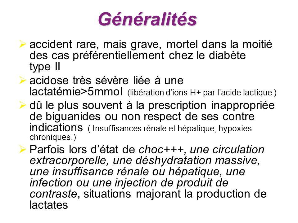 Généralitésaccident rare, mais grave, mortel dans la moitié des cas préférentiellement chez le diabète type II.