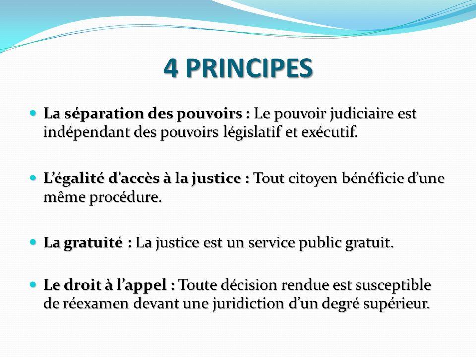 4 PRINCIPESLa séparation des pouvoirs : Le pouvoir judiciaire est indépendant des pouvoirs législatif et exécutif.