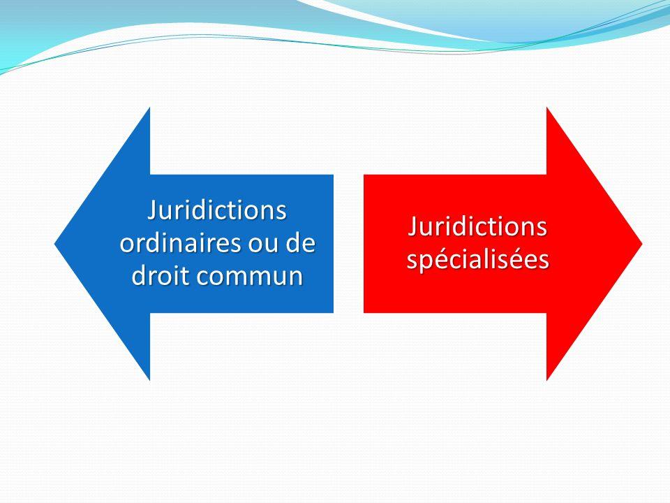 Juridictions ordinaires ou de droit commun Juridictions spécialisées