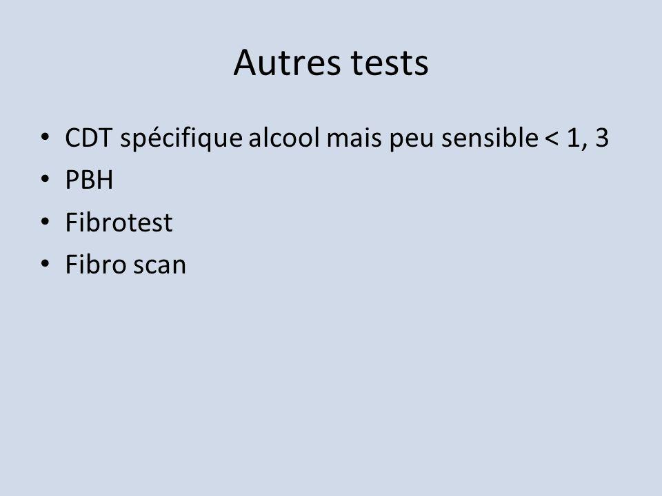 Autres tests CDT spécifique alcool mais peu sensible < 1, 3 PBH
