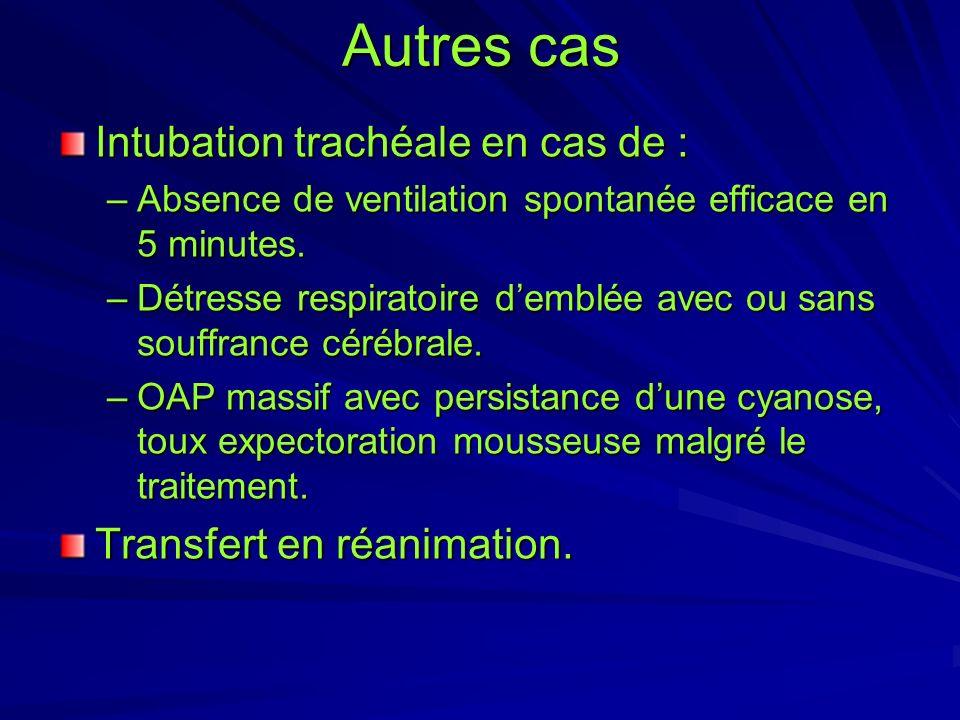 Autres cas Intubation trachéale en cas de : Transfert en réanimation.