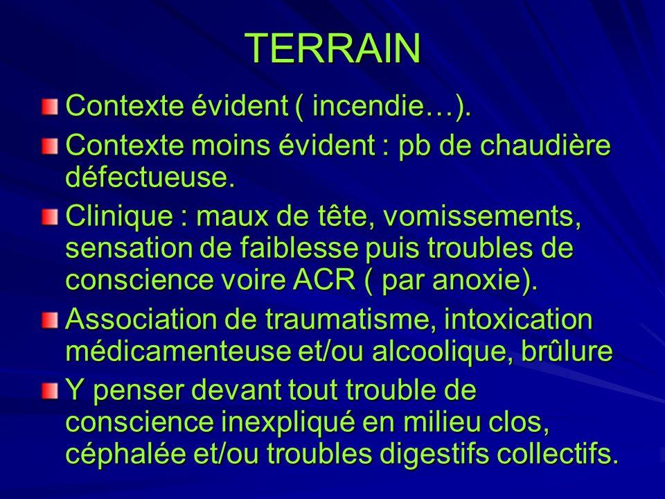 TERRAIN Contexte évident ( incendie…).