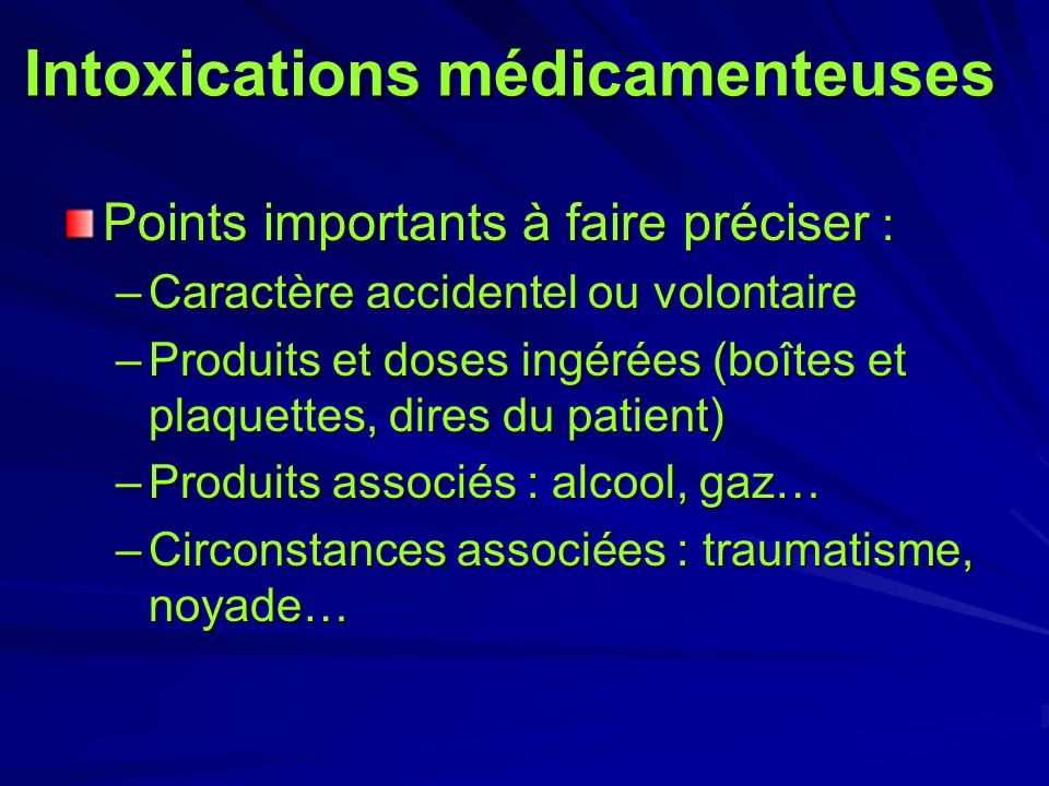 Intoxications médicamenteuses