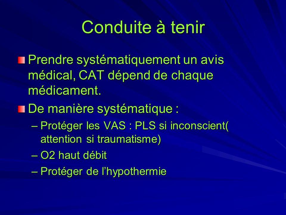 Conduite à tenir Prendre systématiquement un avis médical, CAT dépend de chaque médicament. De manière systématique :