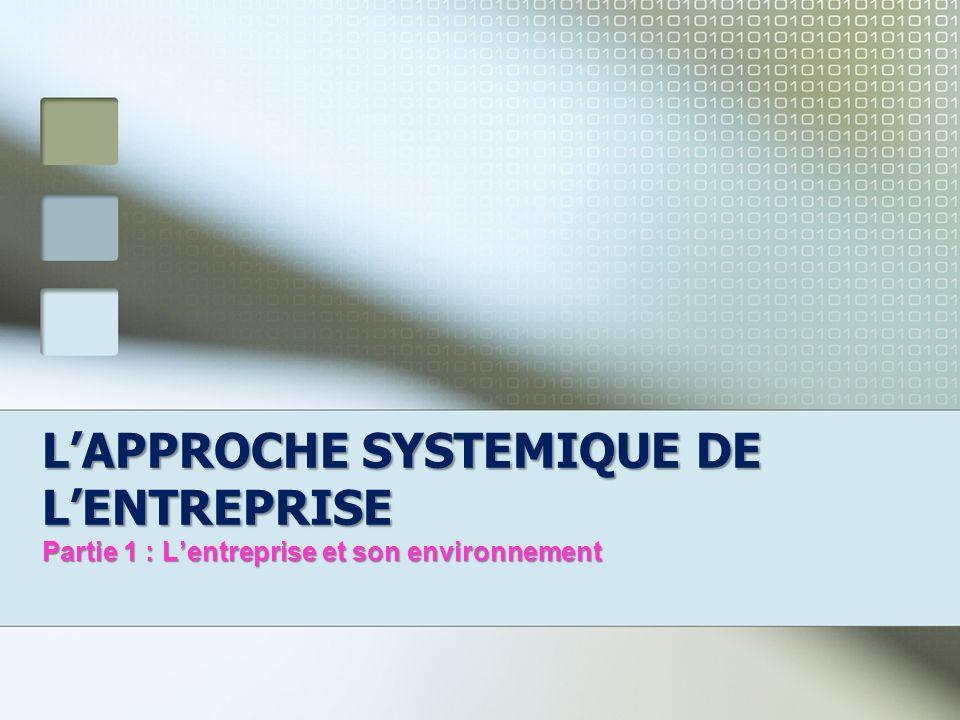 L'APPROCHE SYSTEMIQUE DE L'ENTREPRISE Partie 1 : L'entreprise et son environnement