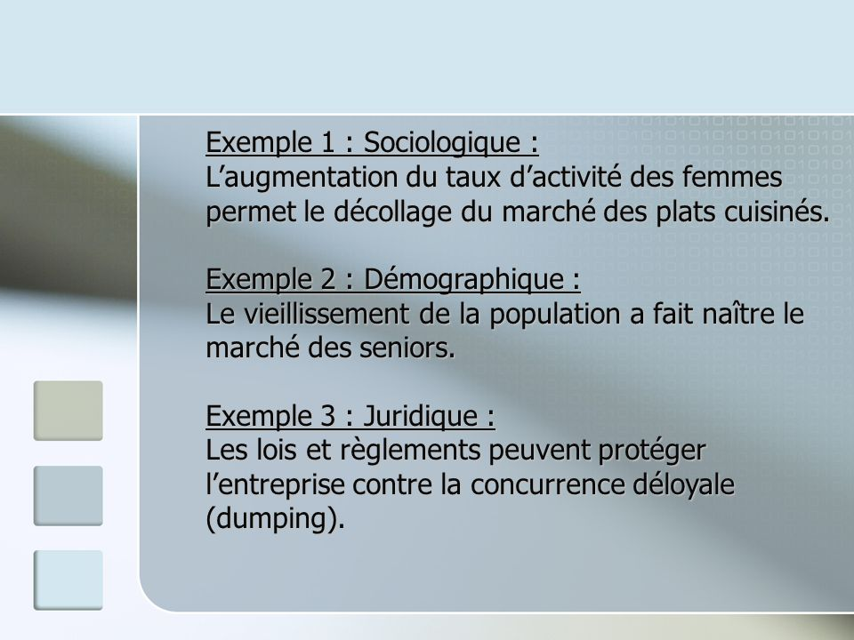 Exemple 1 : Sociologique :