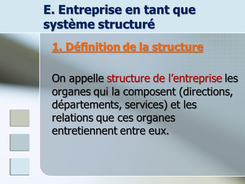 E. Entreprise en tant que système structuré