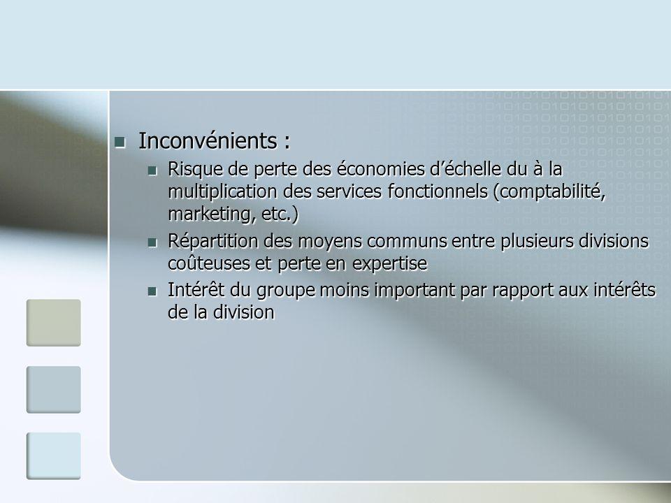 Inconvénients : Risque de perte des économies d'échelle du à la multiplication des services fonctionnels (comptabilité, marketing, etc.)