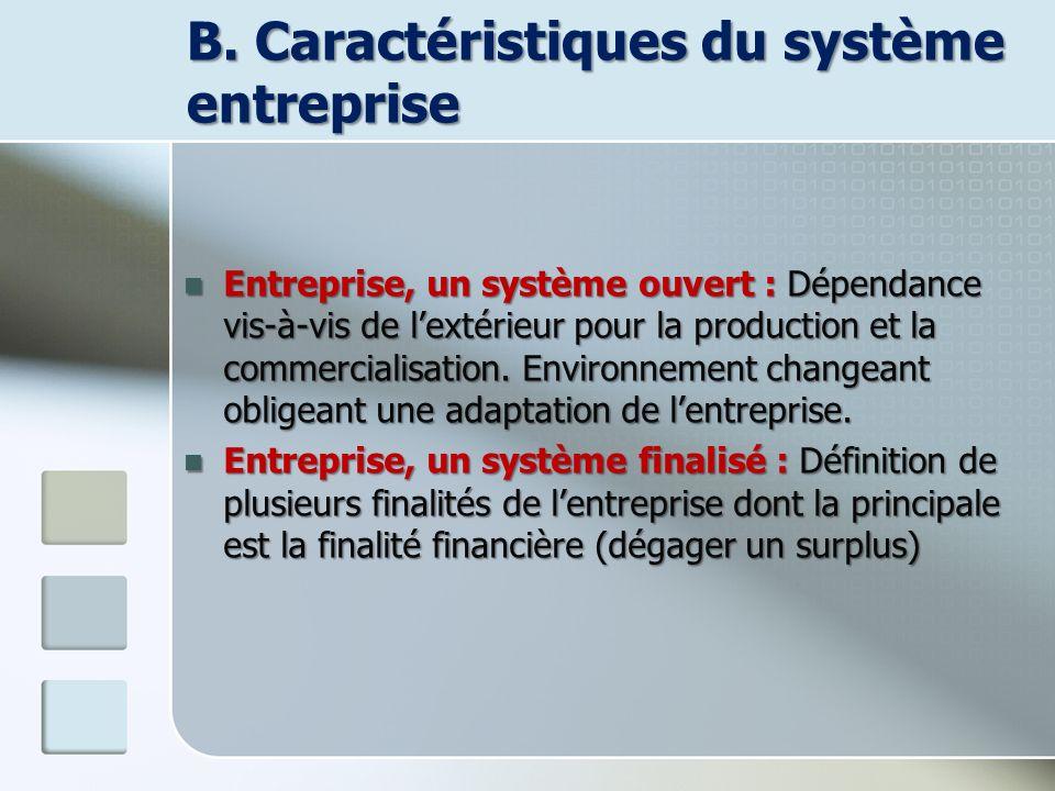 B. Caractéristiques du système entreprise