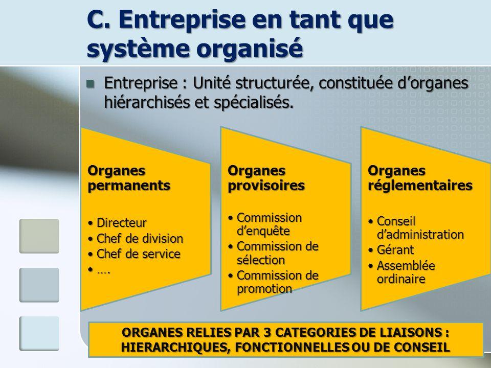 C. Entreprise en tant que système organisé