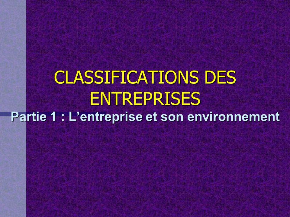 CLASSIFICATIONS DES ENTREPRISES Partie 1 : L'entreprise et son environnement