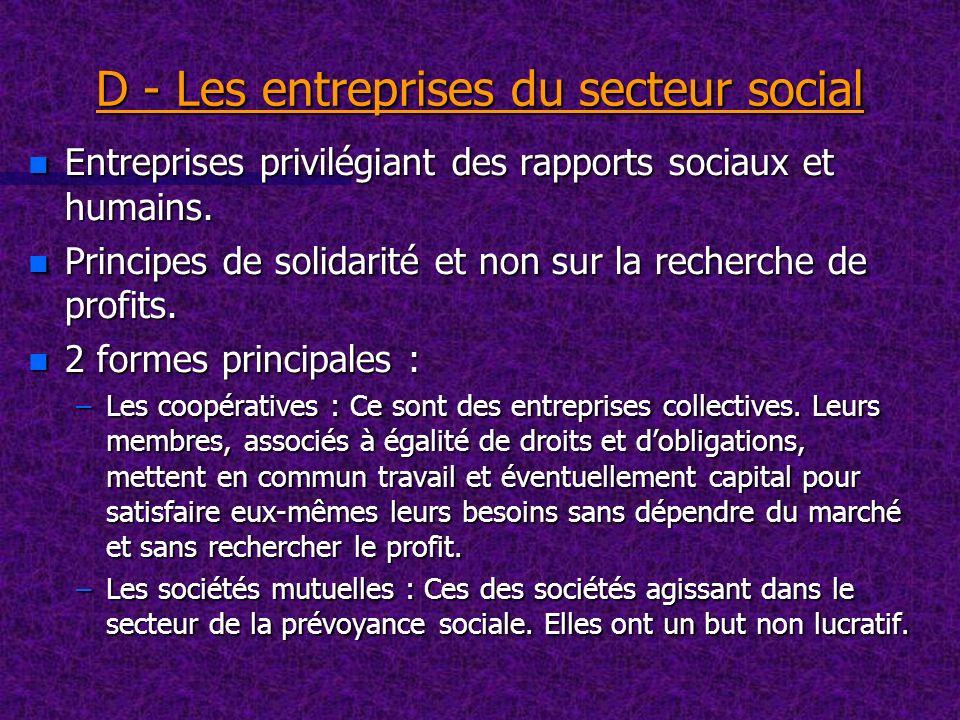 D - Les entreprises du secteur social
