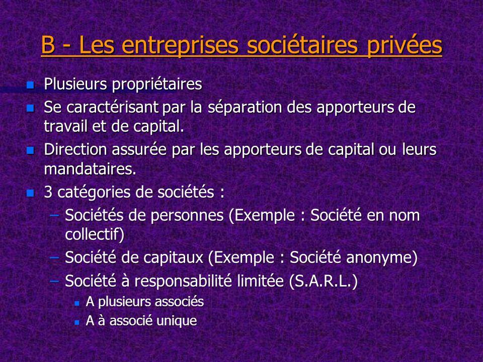 B - Les entreprises sociétaires privées