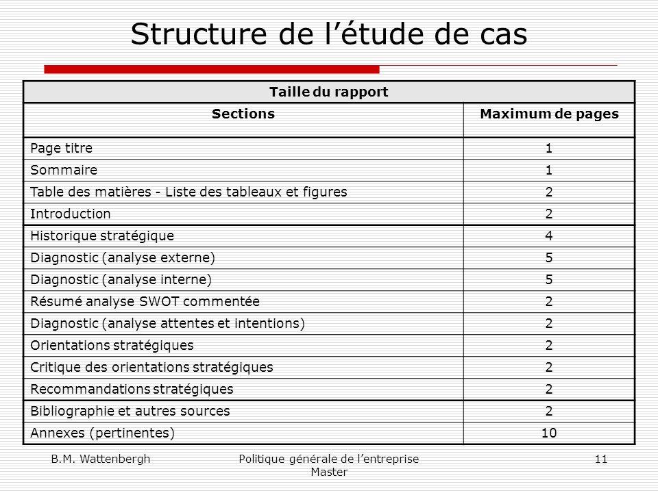 Structure de l'étude de cas