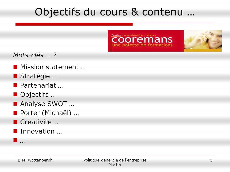 Objectifs du cours & contenu …