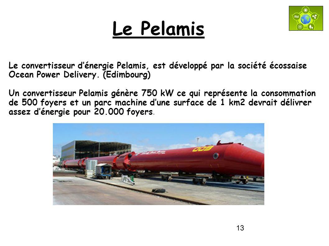 Le Pelamis Le convertisseur d'énergie Pelamis, est développé par la société écossaise Ocean Power Delivery. (Edimbourg)