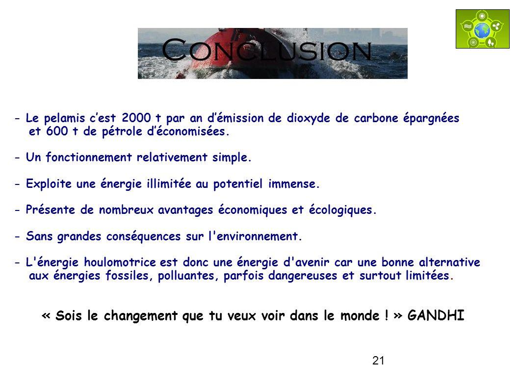 Conclusion - Le pelamis c'est 2000 t par an d'émission de dioxyde de carbone épargnées. et 600 t de pétrole d'économisées.