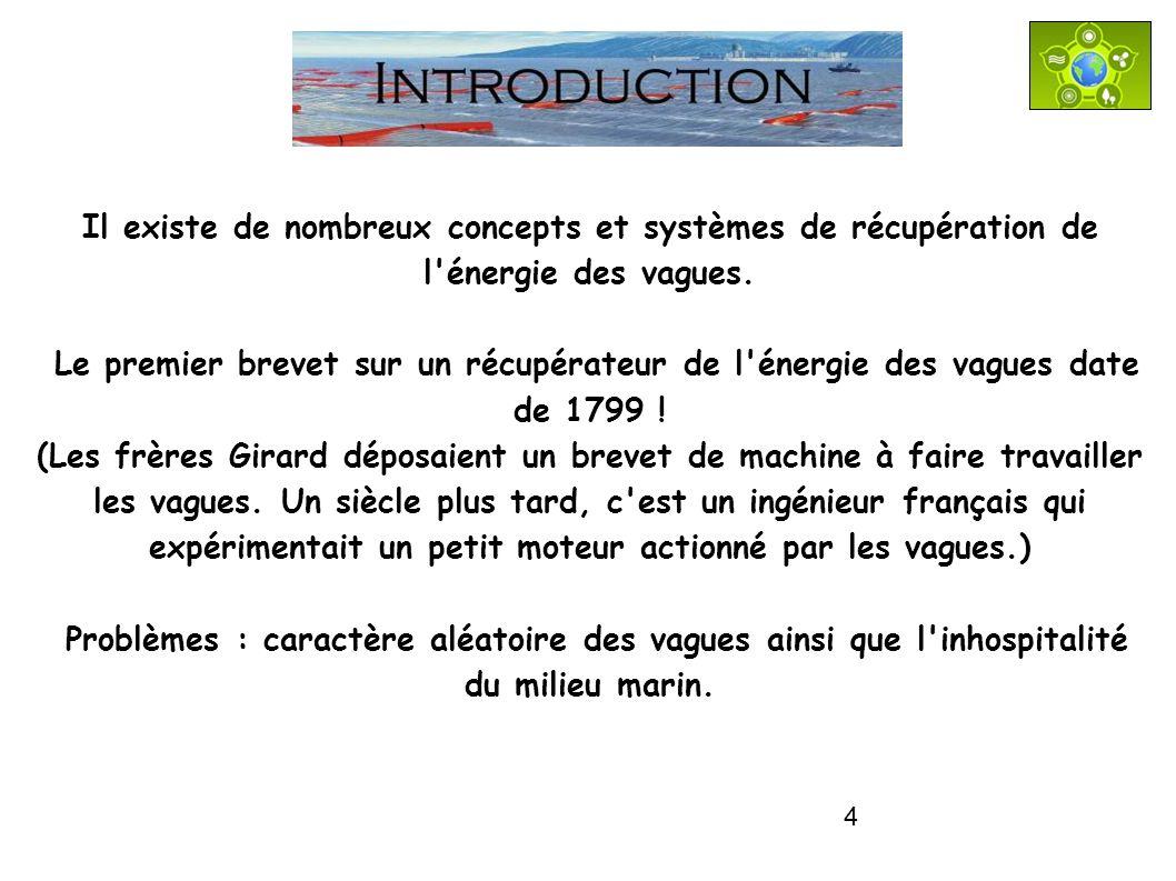 INTRODUCTION Il existe de nombreux concepts et systèmes de récupération de l énergie des vagues.
