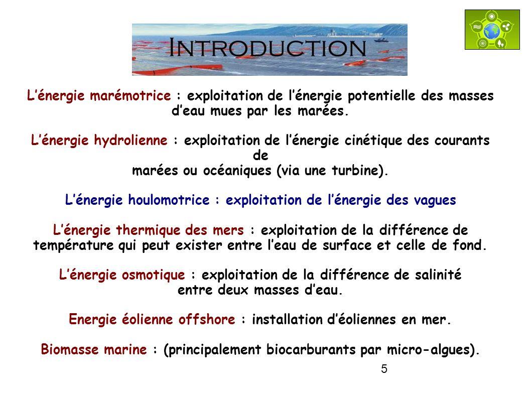 INTRODUCTIONL'énergie marémotrice : exploitation de l'énergie potentielle des masses. d'eau mues par les marées.
