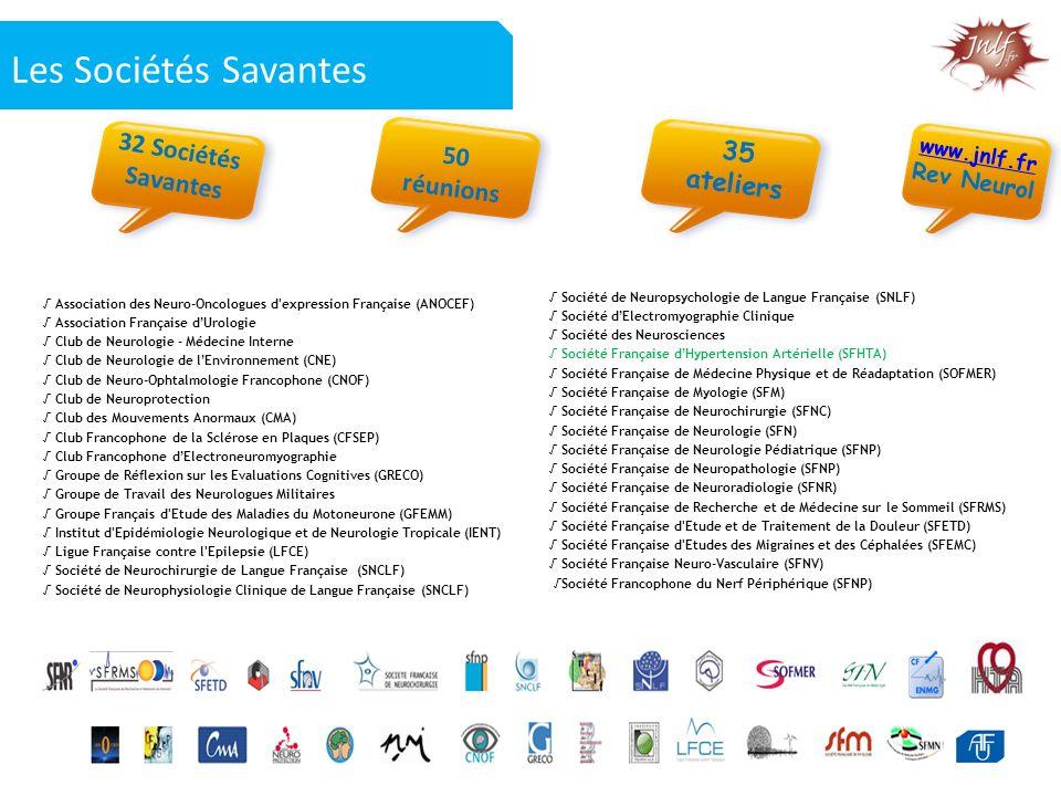 Les Sociétés Savantes 32 Sociétés 35 50 réunions Savantes ateliers