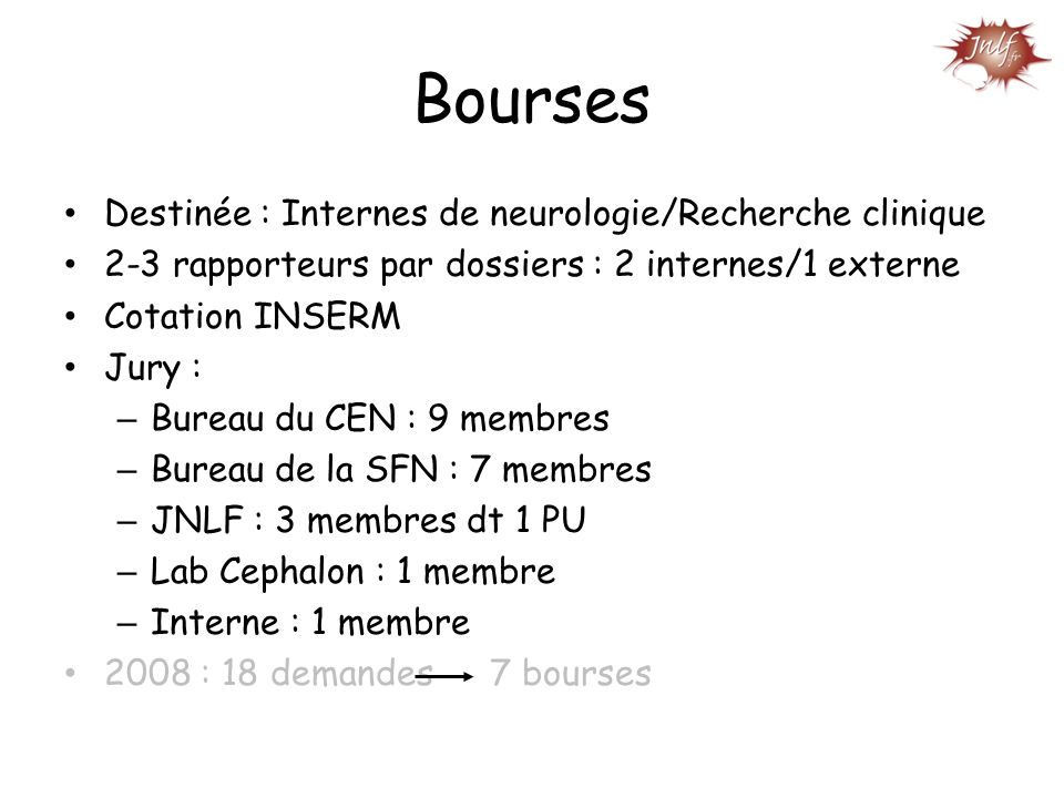 Bourses Destinée : Internes de neurologie/Recherche clinique