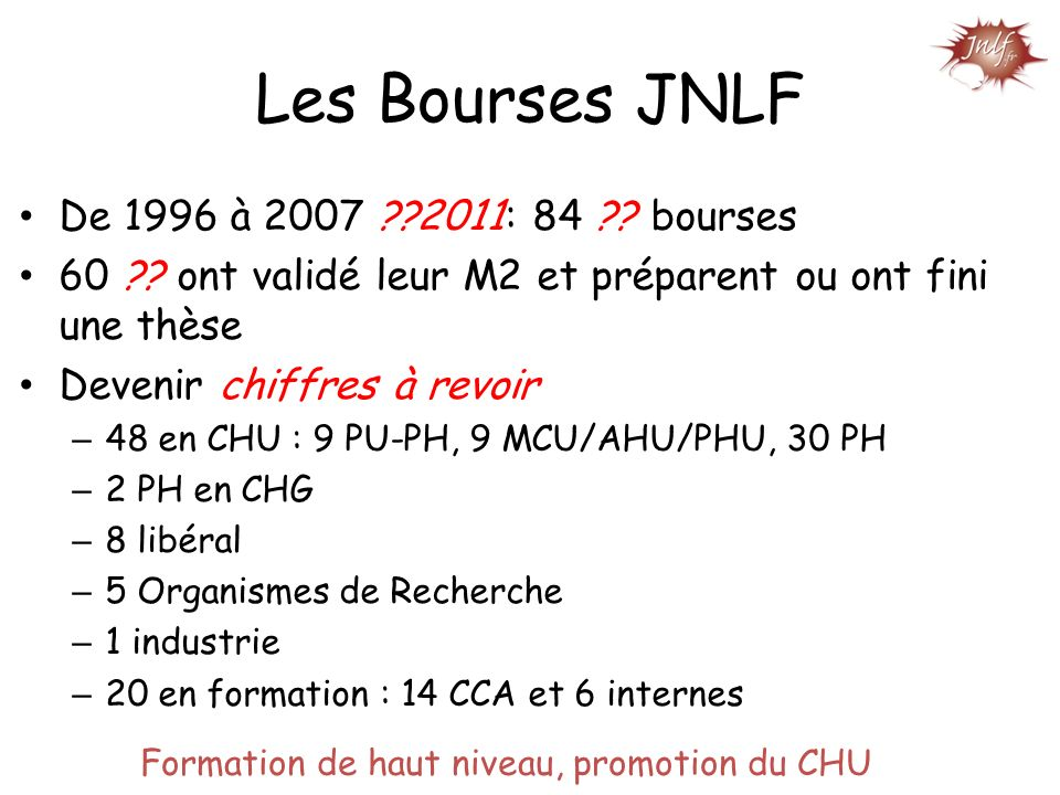 Les Bourses JNLF De 1996 à 2007 2011: 84 bourses