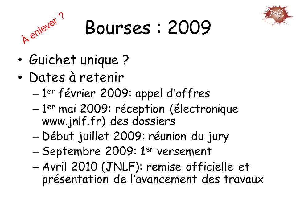 Bourses : 2009 Guichet unique Dates à retenir