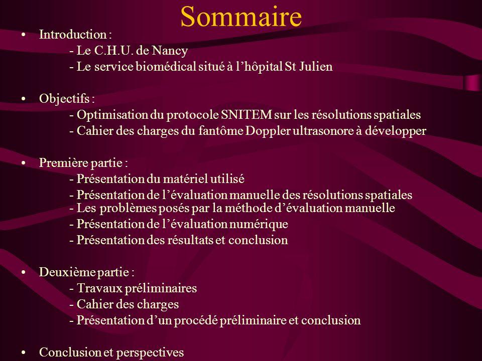 Sommaire Introduction : - Le C.H.U. de Nancy