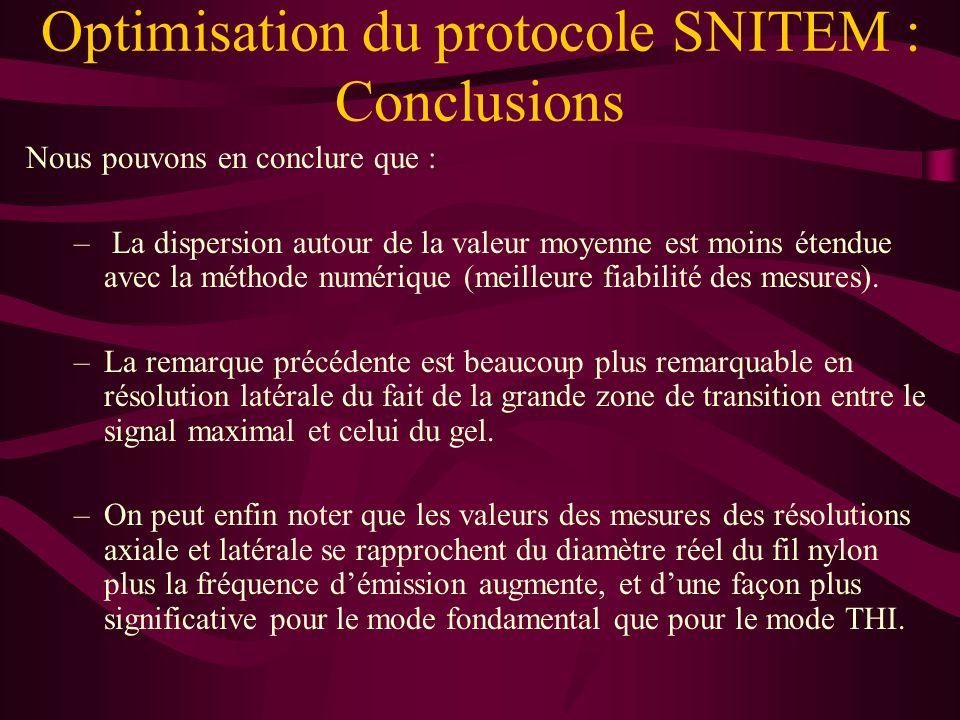 Optimisation du protocole SNITEM : Conclusions