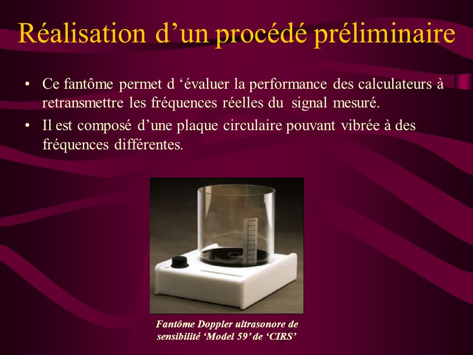 Fantôme Doppler ultrasonore de sensibilité 'Model 59' de 'CIRS'