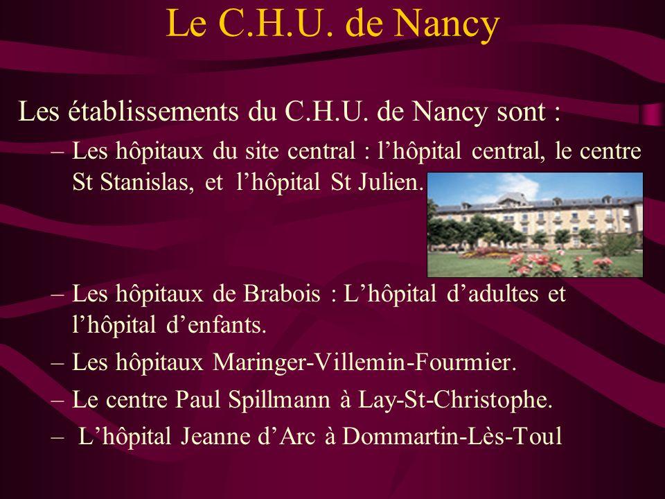 Le C.H.U. de Nancy Les établissements du C.H.U. de Nancy sont :