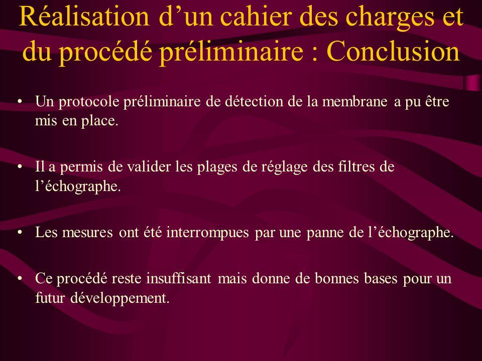Réalisation d'un cahier des charges et du procédé préliminaire : Conclusion