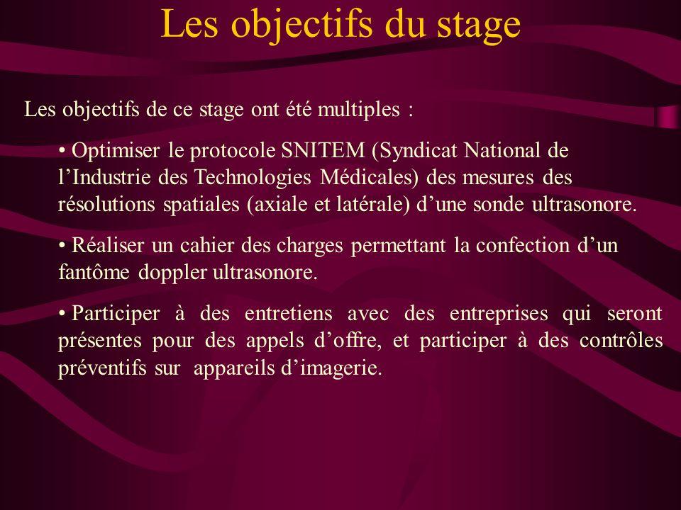 Les objectifs du stage Les objectifs de ce stage ont été multiples :