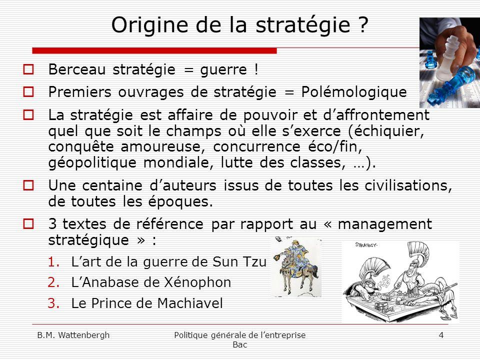 Origine de la stratégie