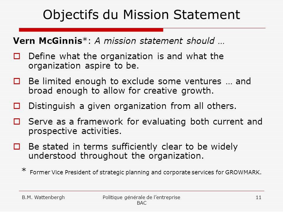 Objectifs du Mission Statement