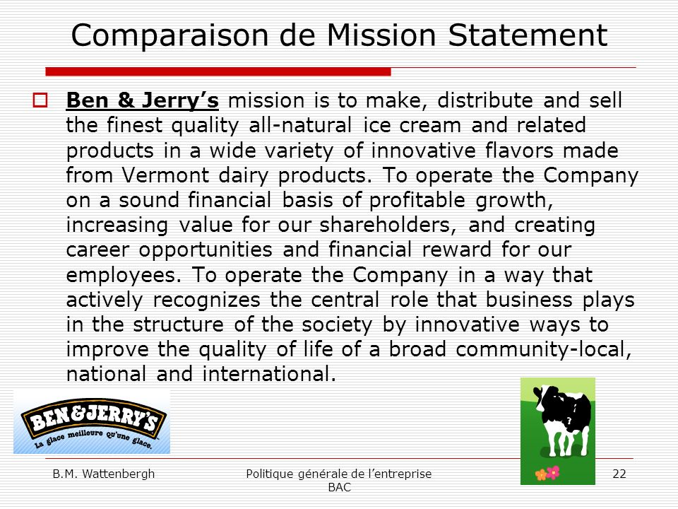 Comparaison de Mission Statement
