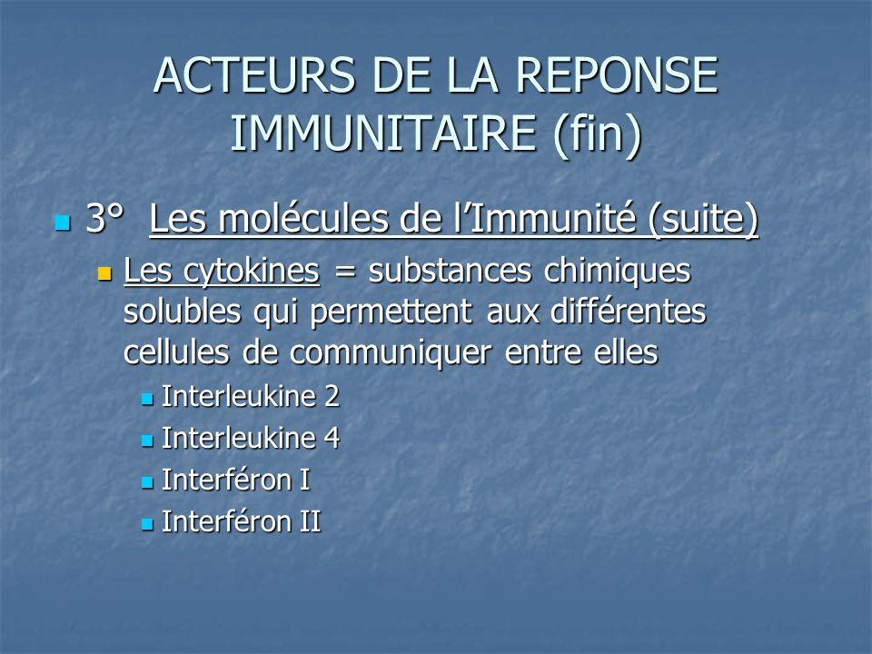 ACTEURS DE LA REPONSE IMMUNITAIRE (fin)