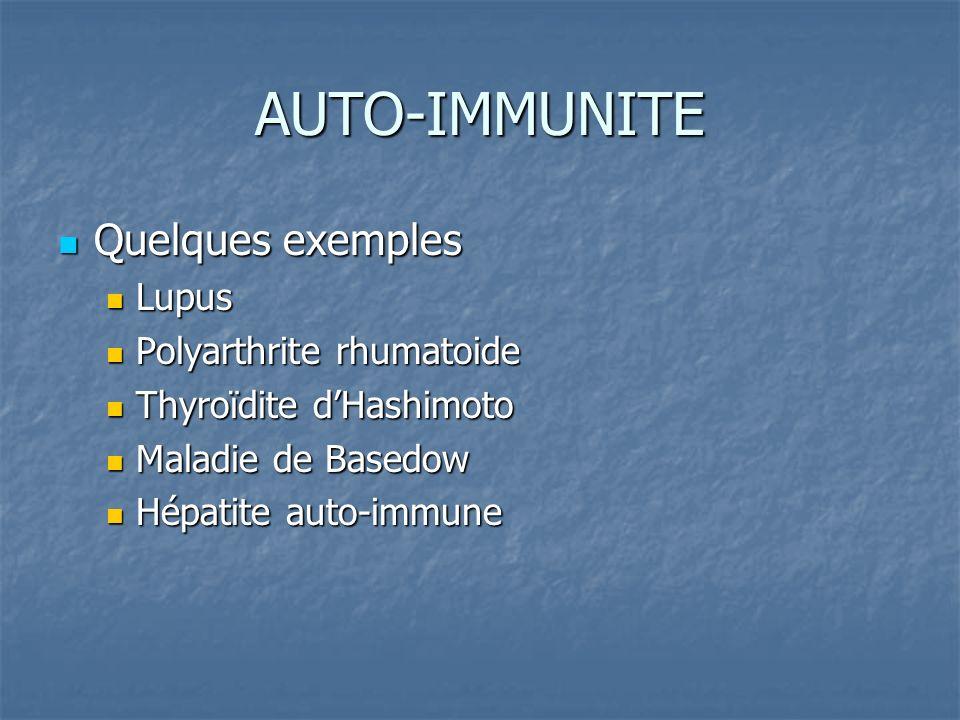 AUTO-IMMUNITE Quelques exemples Lupus Polyarthrite rhumatoide