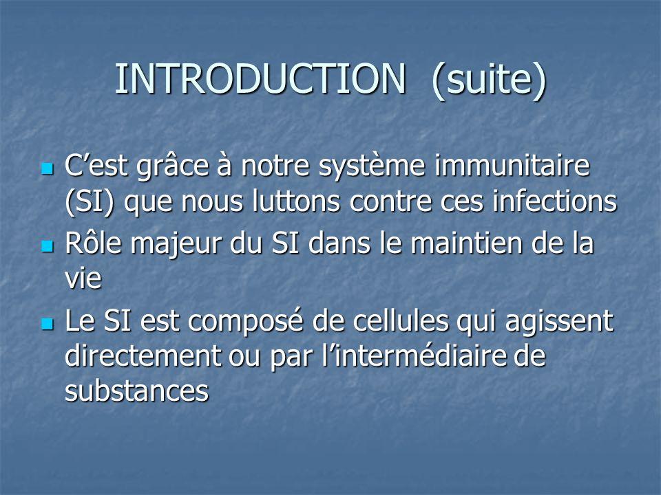 INTRODUCTION (suite) C'est grâce à notre système immunitaire (SI) que nous luttons contre ces infections.