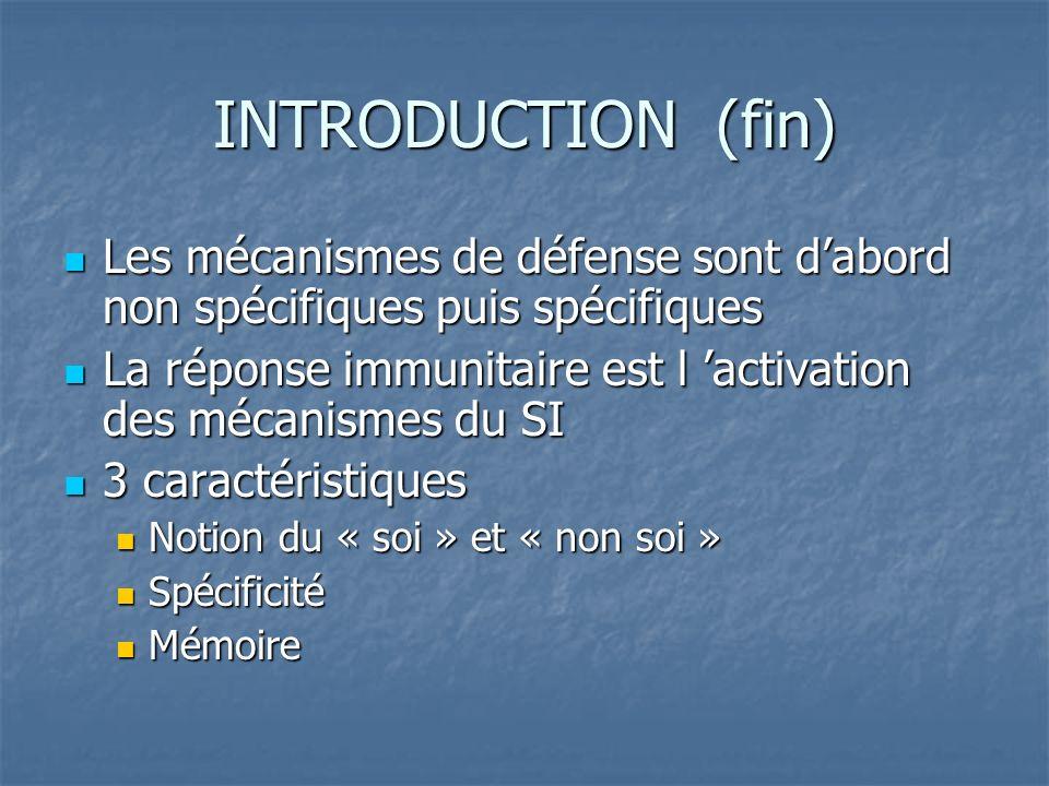 INTRODUCTION (fin) Les mécanismes de défense sont d'abord non spécifiques puis spécifiques.