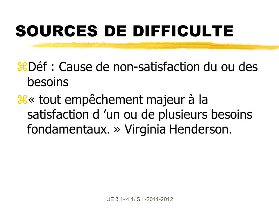 SOURCES DE DIFFICULTE Déf : Cause de non-satisfaction du ou des besoins.
