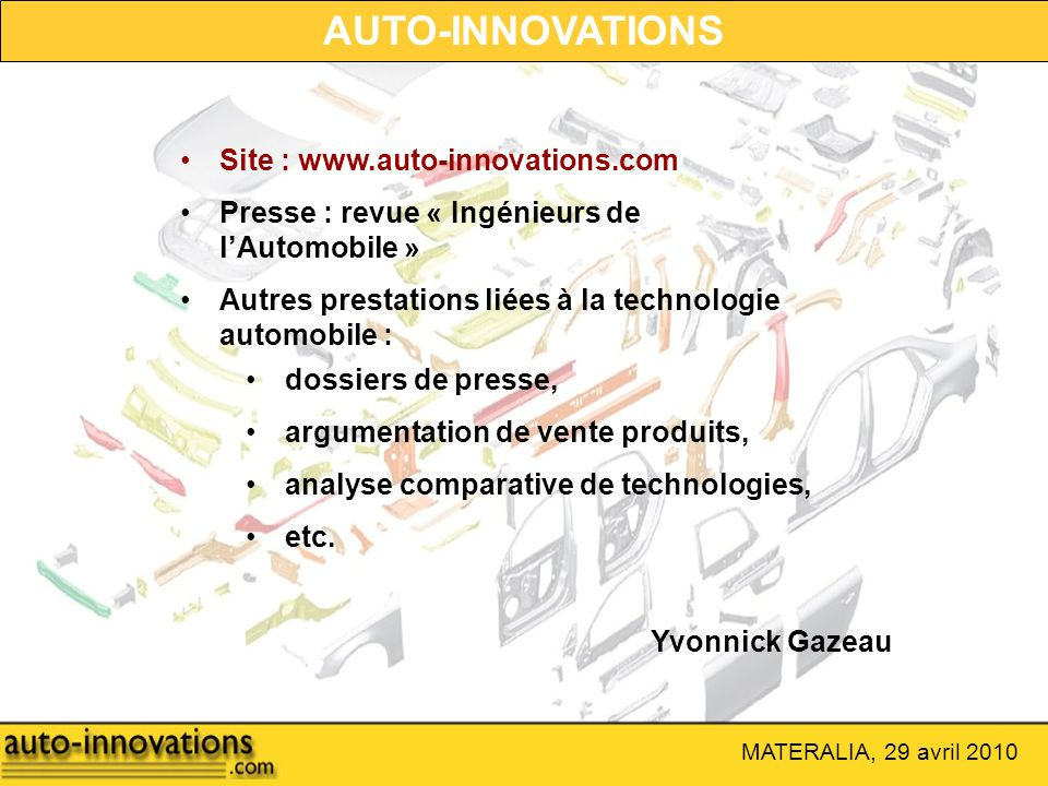AUTO-INNOVATIONS Site : www.auto-innovations.com