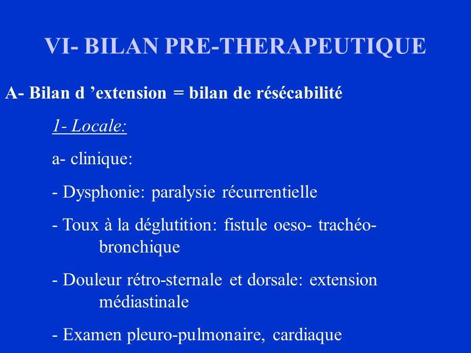 VI- BILAN PRE-THERAPEUTIQUE