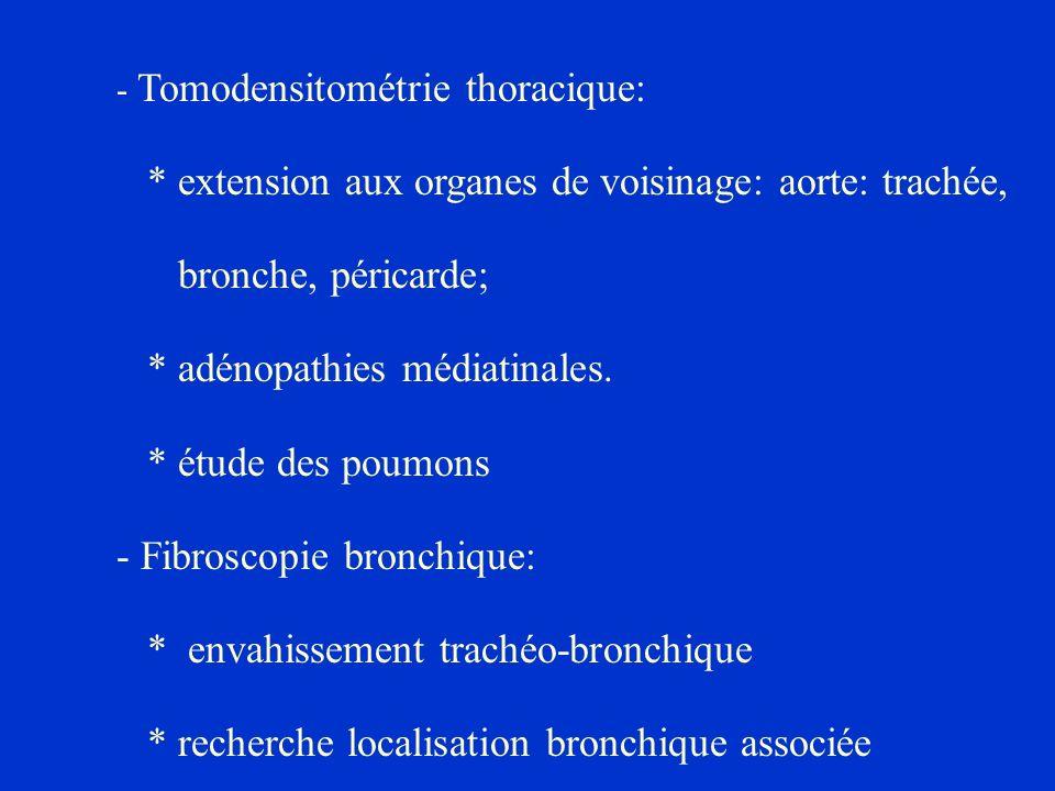 * extension aux organes de voisinage: aorte: trachée,