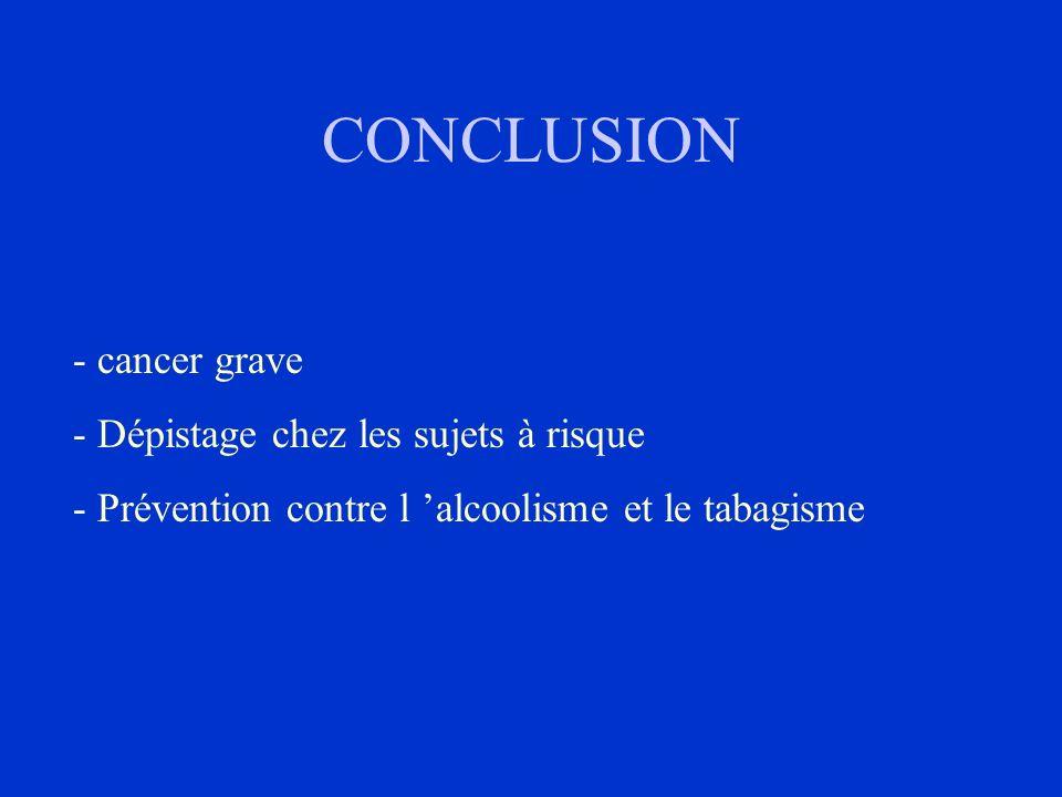 CONCLUSION - cancer grave - Dépistage chez les sujets à risque