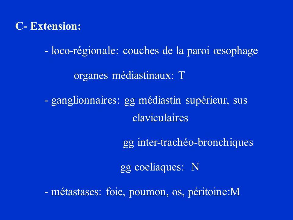 C- Extension: - loco-régionale: couches de la paroi œsophage. organes médiastinaux: T.