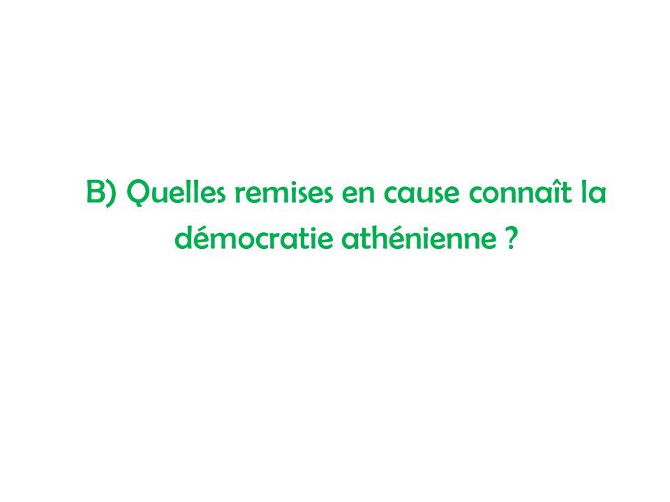 B) Quelles remises en cause connaît la démocratie athénienne