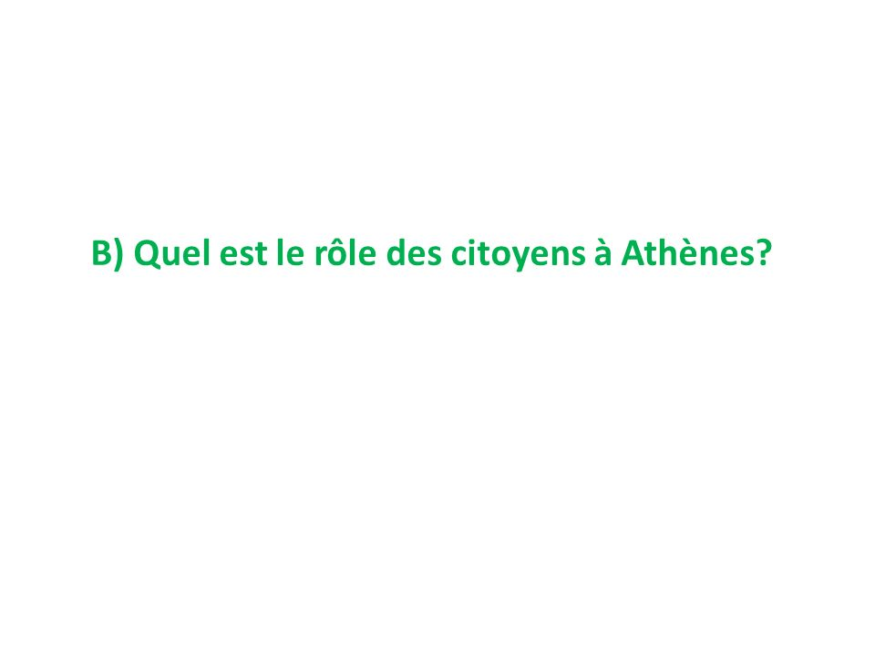 B) Quel est le rôle des citoyens à Athènes
