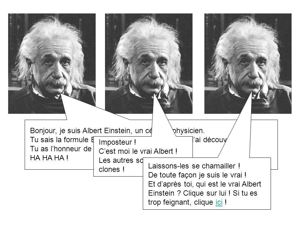 Bonjour, je suis Albert Einstein, un célèbre physicien.